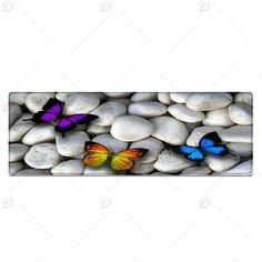 Butterfly On The Stone Pattern Indoor Outdoor Area Rug - WHITE W24INCH*L71INCH