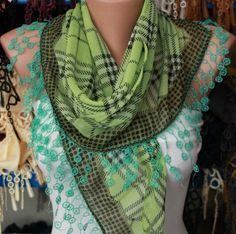 -Pistachio Plaid  Cotton Scarf Headband by fatwoman on Etsy, $15.00