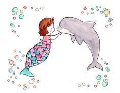 Sous la mer IIIsirène bulles pépinière Art Print