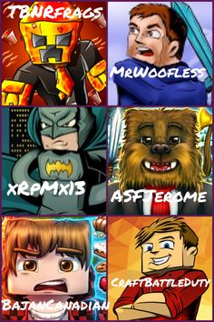 Minecraft youtubers just a few of the ones I'm obsessed with! Other than inthelittlewood so sad! I couldn't fit him in! :( well the ones we have: TBNRfrags/Preston, woofless/Rob, xRpMx13/Ryan, ASFJerome/Jerome, BajanCanadian/Mitch, CraftBattleDuty/Lachlan!