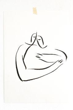 Andrea Kollar is an Austrian born artist, illustrator and art director. Black And White Art Drawing, Black And White Sketches, Black And White Posters, Black And White Aesthetic, Black And White Abstract, Love Drawings Couple, Couple Art, Oil Pastel Art, Charcoal Art