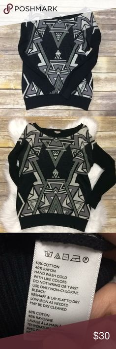"""Ecote urban outfitters aztec tribal sweater small Brand >>> Ecote (Urban Outfitters) Size >>> Small Colors >>> Black & greys Armpit to armpit >>> 19"""" Length >>> 26""""  This sweater is beautiful! It features an aztec print on the front in black and grey colors. In perfect condition!  *Thank you for shopping my closet! Reasonable offers are welcome. Have a beautiful day! Urban Outfitters Sweaters"""