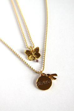 Survivor Charm Necklace Butterfly Necklace by DlightedJewelry, $30.00