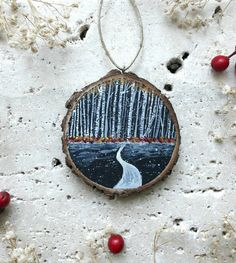 birch forest, snow, painting on natural wood slice, decoration to hang, Christma… – Wood Works – Just another WordPress site Wooden Ornaments, Xmas Ornaments, Christmas Decorations, Painted Ornaments, Holiday Crafts, Fun Crafts, Polymer Clay Painting, Wooden Painting, Wood Slice Crafts