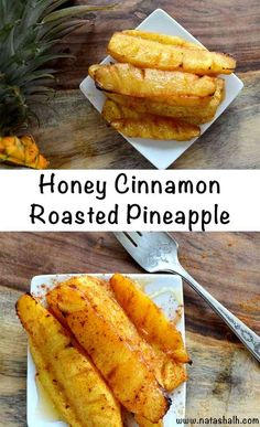 Roasted Pineapple with Honey Cinnamon Glaze – Easy Dessert Recipe honey cinnamon roasted pineapple – roast these pineapples in the oven instead of on a grill! Honey Recipes, Fruit Recipes, Dessert Recipes, Dessert Bread, Cheese Dessert, Vegan Recipes, Cinnamon Glaze Recipe, Grilling Recipes, Cooking Recipes