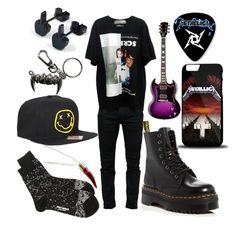"""bands af"" by back-to-black ❤ liked on Polyvore featuring Balmain, Issey Miyake, Hot Topic, Dr. Martens, Rock Rebel and Gibson"