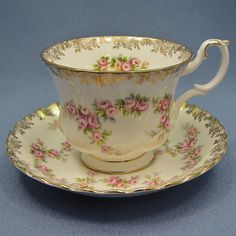 ROYAL ALBERT Dimity ROSE Tea Cup and Saucer Pink by Thinkilikeit