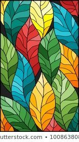 Illustration in stained glass style with colorful leaves trees on a dark backgro. Illustration in L'art Du Vitrail, Tree Watercolor Painting, Fabric Painting, Glass Painting Designs, Madhubani Painting, Stained Glass Art, Mosaic Art, Art Projects, Art Drawings