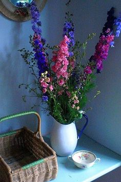 Delphiniums in blues and pinks