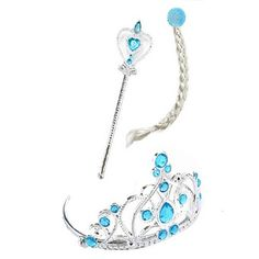 Frozen Anna and Elsa Magic Wand + Silver Braid + Imperial Crown Tiara Combo Hair Set For Child