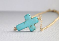 Turquoise Sideways Cross Necklace 14k Gold Filled Chain. via Etsy.