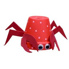 Flower Pot Crab Craft. I think I'll try this one for Summer Camp. UPDATED: I have now made this Oceans Craft with my class of 5-6 year olds. With a few tweaks it worked out great. Please check my blog at http://www.timsensei.com/blog/index.php?id=1036375749843712467 for photos of how it went plus some teaching tips that may help you.