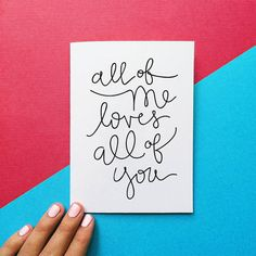 San Valentín tarjeta todos me encanta todos ustedes citan San Valentín tarjeta día tarjeta romántica aniversario tarjeta negro guión handlettering la caligrafía