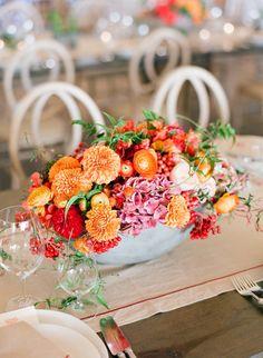 Orange Dahlias, ranunculus, berries, hydrangeas - love the color combination of oranges, peach, pink, red Atelier Joya | Private Estate, Sonoma
