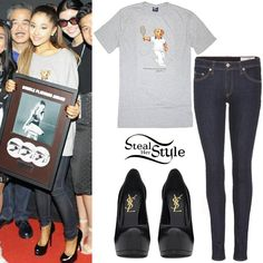 Ariana Grande received her Double Platinum Record in Jakarta wearing a Polo by Ralph Lauren Bear Tennis Short Sleeve T-shirt ($34.47), Rag & Bone Justine High Rise Legging Jeans ($187.00) and a pair of Saint Laurent Classic Tribute Two Pumps ($795.00). You can find similar shoes at 6pm by Guess ($44.85).