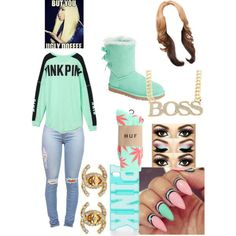 A fashion look from March 2015 featuring Victoria's Secret PINK tops, HUF socks and UGG Australia boots. Browse and shop related looks.