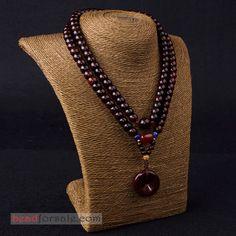 original 108pcs lobular red sandalwood barrel beads necklace