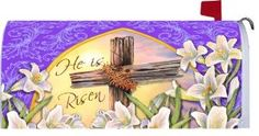 """Old Rugged Cross - Decorative Mailbox Makeover Cover - """" He Is Risen """" Easter Lilies by Belle Rose Collection. $15.99. This easy to apply mailbox makeover will brighten that old rural mailbox. Magnetic strips hold firm. If you have a plastic box be sure to order the optional kit found in our Amazon Store. Matching flags to coordinate are optional.. Save 47% Off!"""