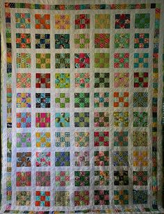 "9 patch quilt. Theres nothing more ""homey"" than curling up on the couch at night to watch a movie with the fam and covering up w a big homemade quilt! Ahhh"