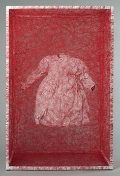 Chiharu Shiota Zustand des Seins (Kinderkleid) / State of Being (Children's Dress), 2013 Metal, children's dress, red thread 120 x 80 x 45 cm 47.24 x 31.5 x 17.72 inches Courtesy of the artist and Arndt.