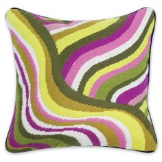 Online Warehouse Sale - Green And Pink Eden Road Bargello Throw Pillow