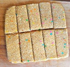 No Bake CAKE BATTER Protein Bars @Sarah Chintomby Saunders these look like a good afternoon snack. :)