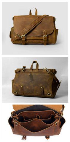 Vintage style Leather Briefcase / Messenger Bag (P01)