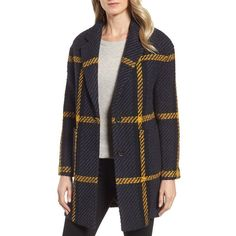 Women's Dkny Textured Plaid Wool Blend Coat (3.778.090 IDR) ❤ liked on Polyvore featuring outerwear, coats, tartan coats, texture coat, print coat, wool blend coat and dkny