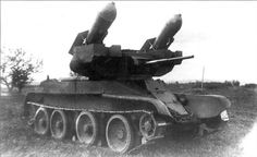 "Russian RBT-5 - In the 1930s, the Soviet Union tested the RBT-5 rocket-based assault gun, comprising a BT tank mounting two 250-kg ""TT Tank Torpedo"" unguided rockets its turret sides. http://en.wikipedia.org/wiki/Missile_tank"