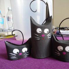 Gatos de cartón #manualidades #cartón #reciclar #gatos http://abt.cm/1QjPwqo