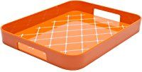 "Zak! Designs Half Gallery Tray with Non-skid Detail on Tray Surface, Easy to Hold Handles, BPA-free Plastic, , 13"" x 10 1/2"", Orange and White"