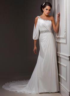 Ivory Chiffon Grecian Jewel One Shoulder Wedding Dress $278.99 Designer Wedding Dresses