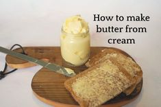 Have you ever tried making homemade butter from cream? I hadn't until recently but now that I have, I'm a huge fan! It's so easy to make and tastes delicious! Easy Homemade Gifts, Homemade Butter, Batch Cooking, Cooking Recipes, Frugal Family, Yummy Food, Delicious Recipes, Ice Cream, Meals
