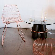 Copper everything. Chair by Bend Goods and table by La Chance at A+R
