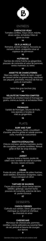 Menu du soir et carte des desserts - Bistro Braque - Restaurant apportez votre vin Carpaccio, Bistro, Creme, Menu, Restaurant, Nicoise Salad, Salmon Tartare, Brogue Shoe, Menu Board Design