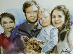 "Custom family portrait. 11×14"" watercolour painted December 21, 2015 by Quinn Lockman"