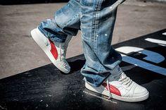 "#Puma #Becker #Leather OG #WhisperWhite #Sneakers, #Prps #P31P03AA ""Splattered"" Barracuda #Jeans"
