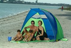 Great tent for the beach. Protects up to 6 people from the sun with UV-Coated nylon (SPF Easy to assemble, up in seconds Abo Aerodome Beach Tent From ABO Gear Baby Beach Tent, Baby Tent, Beach Cabana, Best Tents For Camping, Tent Camping, Outdoor Camping, Camping Gear, Canopy Outdoor, Canopy Tent