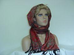 Weiteres - Kapuzenschal Kaschmir Schal weinrot Paisleymuster - ein Designerstück von hofatelier-mode bei DaWanda