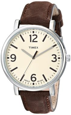 Timex Unisex Originals Silver-Tone Watch with Brown Leather Band * Visit the image link more details. Amazing Watches, Cool Watches, Watches For Men, Dream Watches, Wrist Watches, Oversized Watches, Timex Watches, Men's Watches, Jewelry Watches