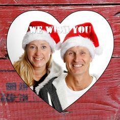 Kerstkaart hout hart eigen foto - Nieuwjaarskaarten - Kaartje2go