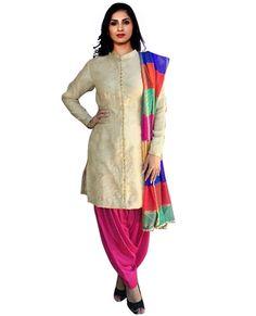 "http://www.istyle99.com/Salwar-Suit/Cream-Designer-Patiyala-Salwar-Kameez-6489.html Cream Designer Patiyala Salwar Kameez @ Rs1282.00 Top Colour: Cream Bottom Colour: Pink Dupatta Colour: Multi Top Fabric: Bhagalpuri Bottom Fabric: Santoon Dupatta Fabric: Jacquard Inner:Santoon Work Type: Button Work Top Length:46"" Customized upto Size:42"" Style Type: Patiyala"
