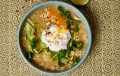 Poached Egg and Congee Rice Stew is a warm, vegetarian meal.