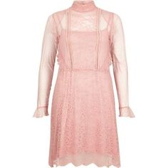 I'm shopping Pink lace frill dress in the River Island iPhone app.