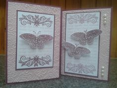 Encouragement Cards by Sarah B , card Whisper White, Rich Razzleberry, Pale Plum Ink: Rich Razzleberry, Pink Pirouette Accessories: Lacy Brocade EF, Pearls