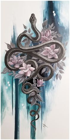 Black snake painting *AVAILABLE* Black mamba snake with flowers and abstract bac. - Black snake painting *AVAILABLE* Black mamba snake with flowers and abstract background acrylic pai - Snake Painting, Snake Drawing, Snake Art, Snake And Flowers Tattoo, Flower Tattoos, Black Snake Tattoo, Black Tattoos, Inspiration Art, Art Inspo