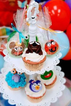Check out this fun Muppet Babies 1st birthday party! The cupcakes are so cute! See more party ideas and share yours at CatchMyParty.com#partyideas #muppetbabies #muppetbabiesparty #1stbirthdayparty Baby 1st Birthday, 1st Birthday Parties, Elmo Cake, Cookie Monster Party, Baby Cupcake, Cupcake Images, Cupcake Bakery, Sesame Street Party, Muppet Babies