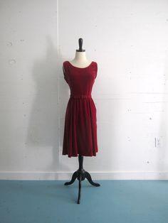 1960s Classic Red Velvet Party Dress $44.00