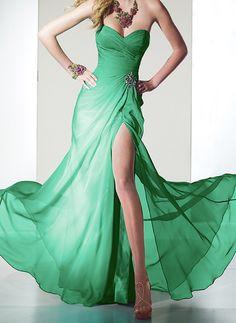 Sweetheart#cute#Charming#girl#fashion Elegant Dark Green A-line Side Split Chiffon Prom dress#Dresses