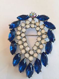 Vintage Signed Weiss Royal Blue Rhinestone Brooch.
